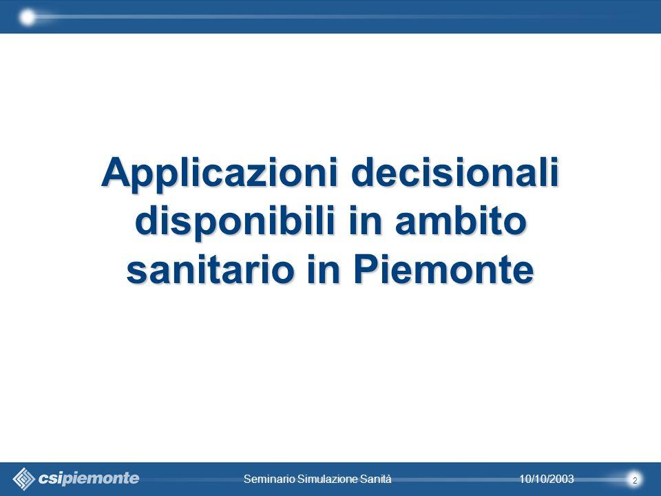 2 10/10/2003Seminario Simulazione Sanità Applicazioni decisionali disponibili in ambito sanitario in Piemonte