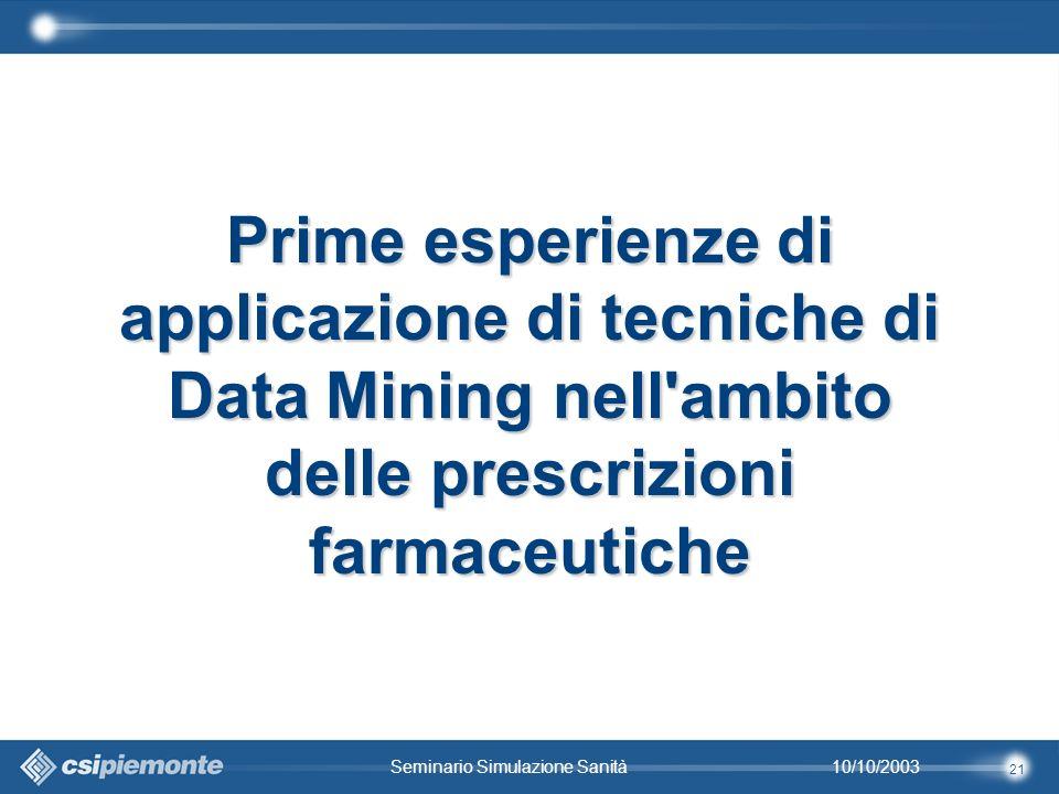 21 10/10/2003Seminario Simulazione Sanità Prime esperienze di applicazione di tecniche di Data Mining nell ambito delle prescrizioni farmaceutiche