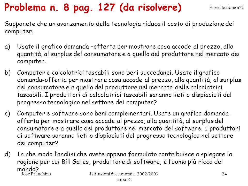 Esercitazione n°2 Jose FranchinoIstituzioni di economia 2002/2003 corso C 24 Problema n. 8 pag. 127 (da risolvere) Supponete che un avanzamento della