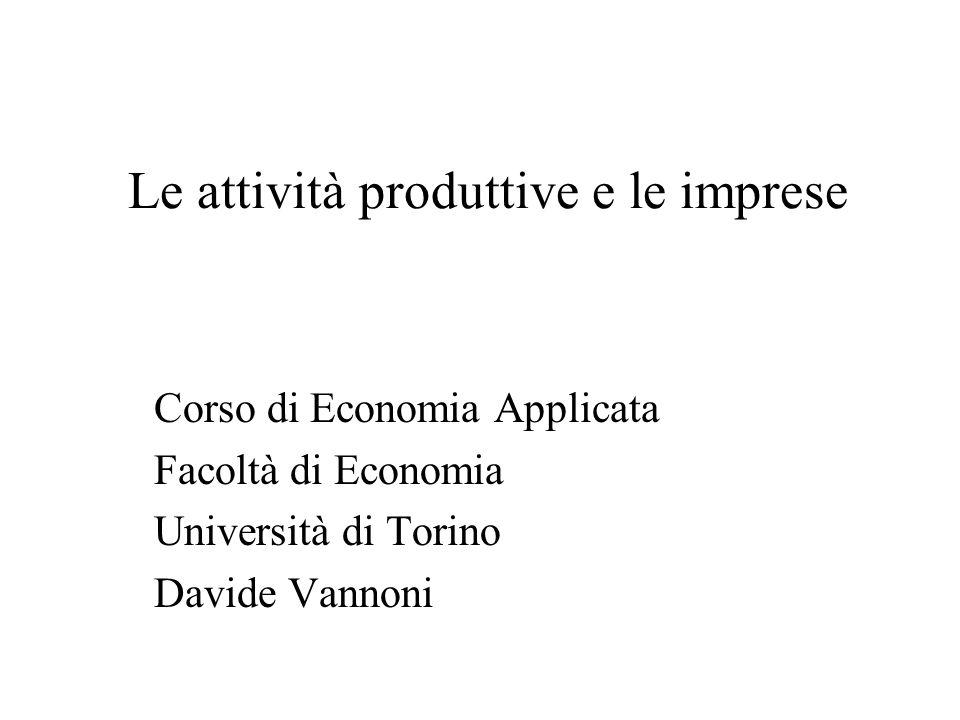 Le attività produttive e le imprese Corso di Economia Applicata Facoltà di Economia Università di Torino Davide Vannoni