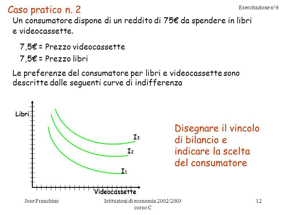 Esercitazione n°6 Jose FranchinoIstituzioni di economia 2002/2003 corso C 12 Caso pratico n.