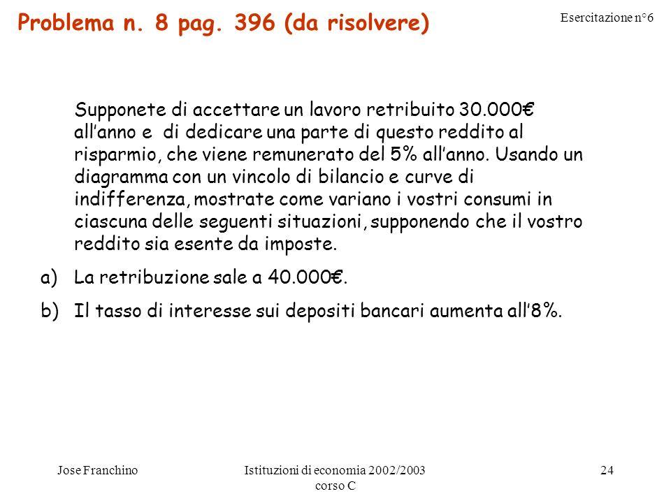 Esercitazione n°6 Jose FranchinoIstituzioni di economia 2002/2003 corso C 24 Problema n.