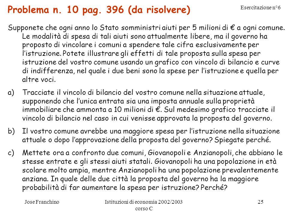 Esercitazione n°6 Jose FranchinoIstituzioni di economia 2002/2003 corso C 25 Problema n.