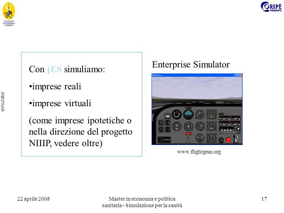 22 aprile 2008Master in economia e politica sanitaria - Simulazione per la sanità 17 simulator Enterprise Simulator www.flightgear.org Con jES simuliamo: imprese reali imprese virtuali (come imprese ipotetiche o nella direzione del progetto NIIIP, vedere oltre)