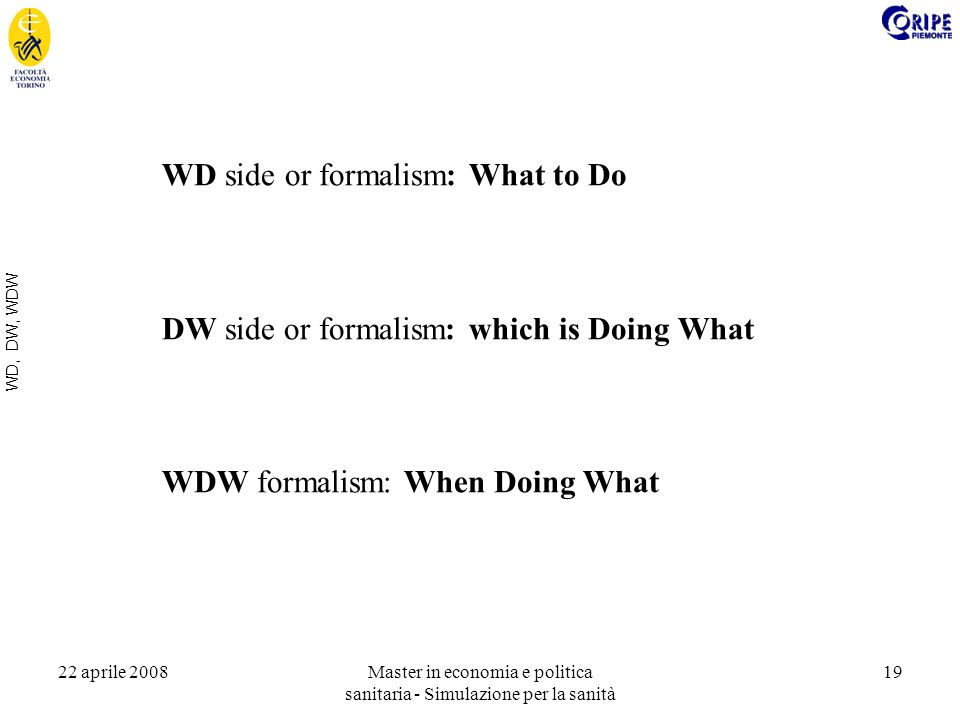 22 aprile 2008Master in economia e politica sanitaria - Simulazione per la sanità 19 WD, DW, WDW WD side or formalism: What to Do DW side or formalism: which is Doing What WDW formalism: When Doing What