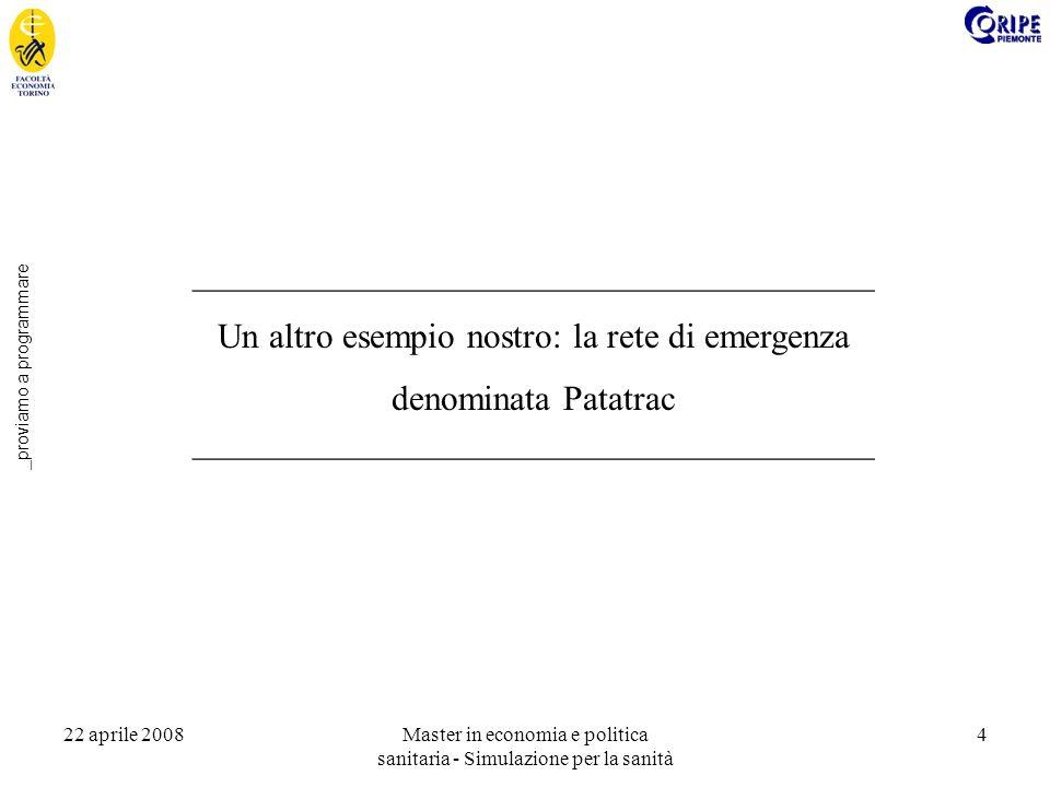 22 aprile 2008Master in economia e politica sanitaria - Simulazione per la sanità 4 _proviamo a programmare _______________________________________ Un altro esempio nostro: la rete di emergenza denominata Patatrac _______________________________________