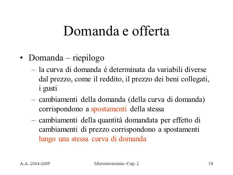 A.A. 2004-2005Microeconomia - Cap. 218 Domanda e offerta Domanda – riepilogo –la curva di domanda è determinata da variabili diverse dal prezzo, come