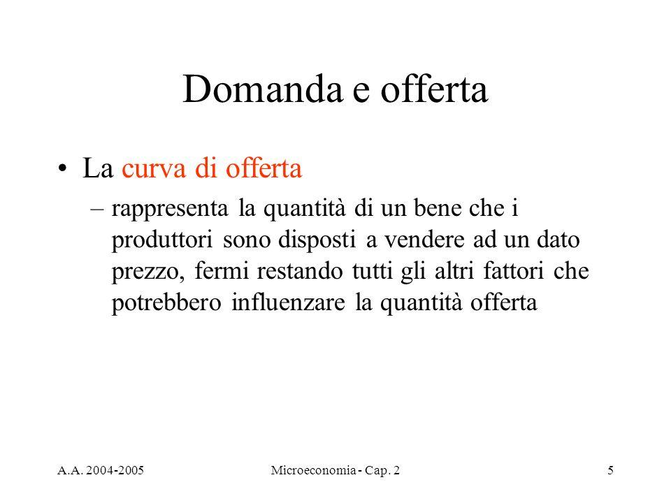 A.A. 2004-2005Microeconomia - Cap. 25 Domanda e offerta La curva di offerta –rappresenta la quantità di un bene che i produttori sono disposti a vende