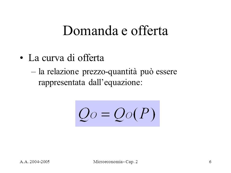 A.A. 2004-2005Microeconomia - Cap. 26 Domanda e offerta La curva di offerta –la relazione prezzo-quantità può essere rappresentata dallequazione: