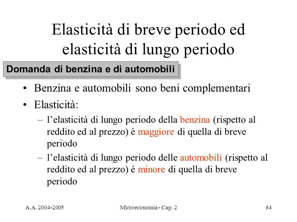 A.A. 2004-2005Microeconomia - Cap. 264 Elasticità di breve periodo ed elasticità di lungo periodo Benzina e automobili sono beni complementari Elastic