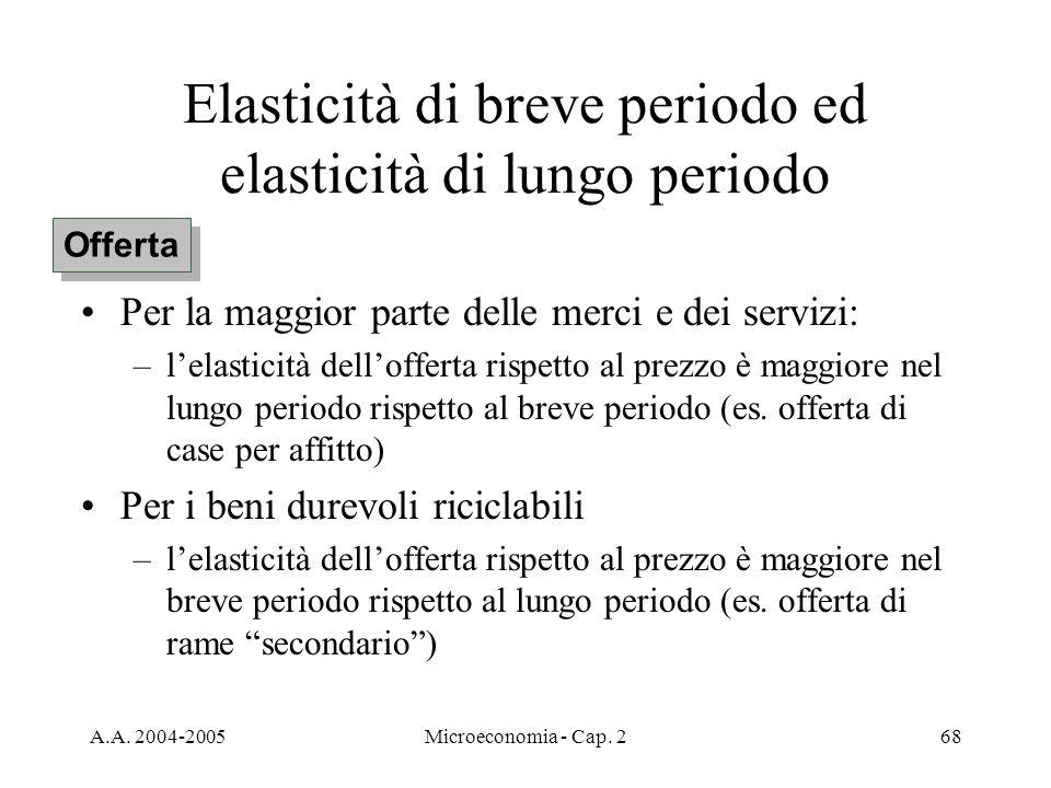 A.A. 2004-2005Microeconomia - Cap. 268 Elasticità di breve periodo ed elasticità di lungo periodo Per la maggior parte delle merci e dei servizi: –lel