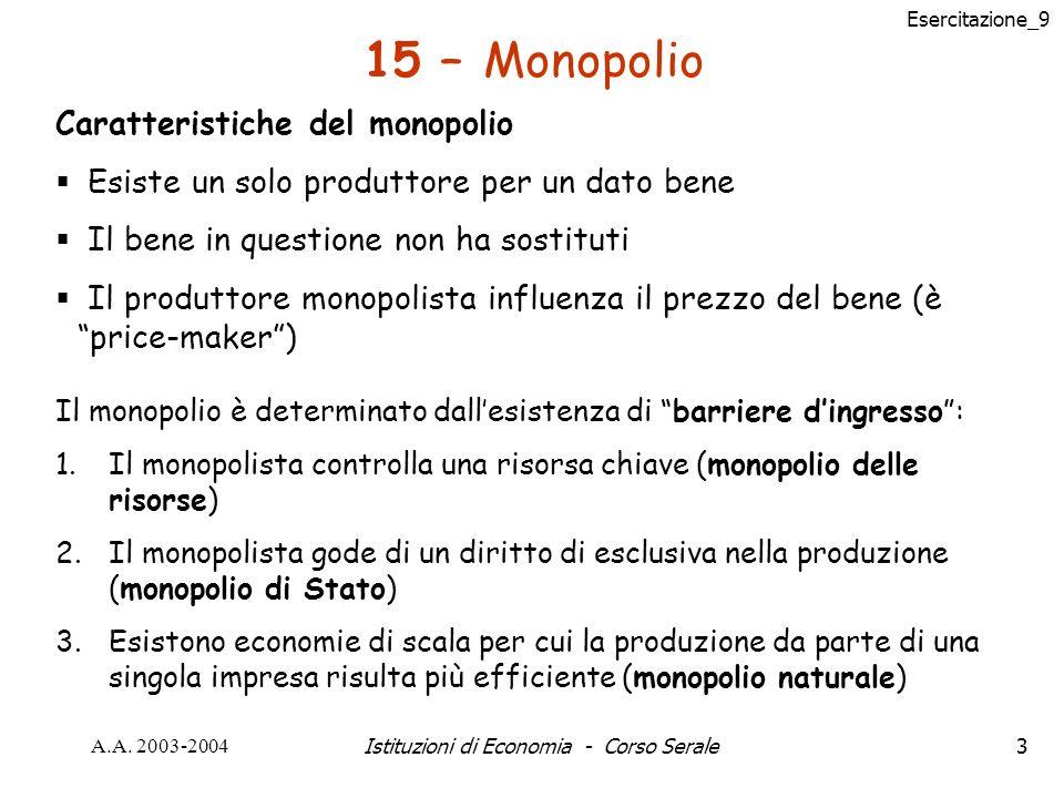 Esercitazione_9 A.A.2003-2004Istituzioni di Economia - Corso Serale34 Problema n° 5 pag.