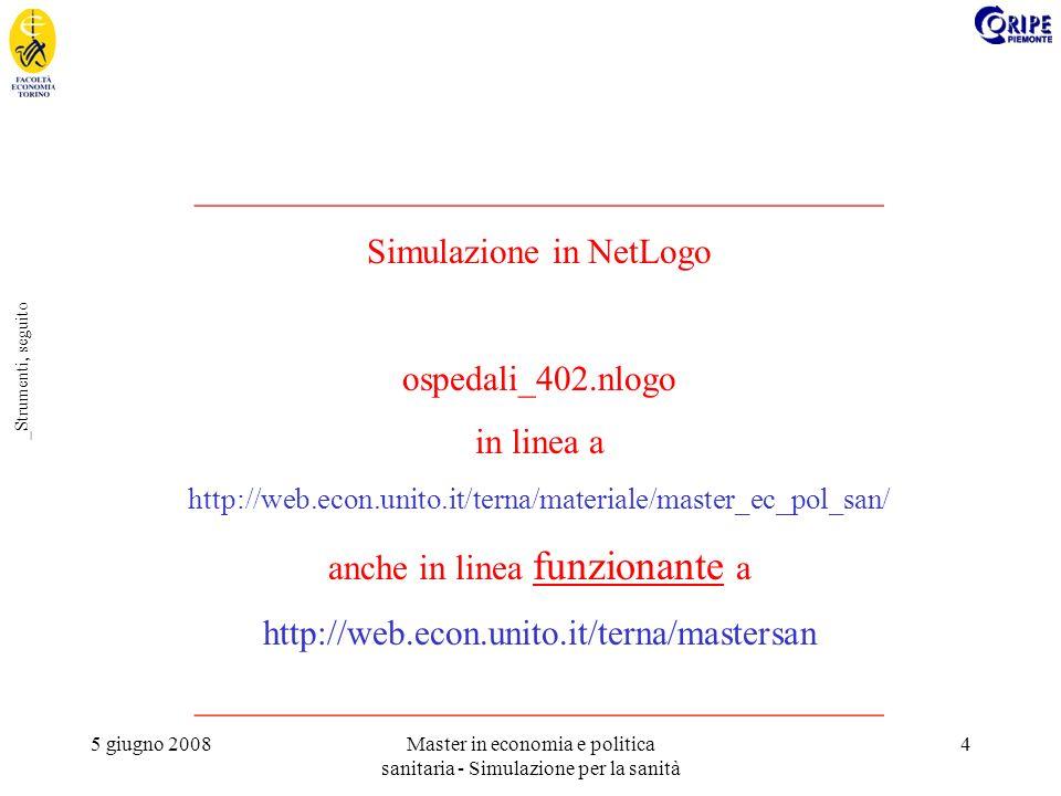 5 giugno 2008Master in economia e politica sanitaria - Simulazione per la sanità 4 _Strumenti, seguito _______________________________________ Simulazione in NetLogo ospedali_402.nlogo in linea a http://web.econ.unito.it/terna/materiale/master_ec_pol_san/ anche in linea funzionante a http://web.econ.unito.it/terna/mastersan _______________________________________
