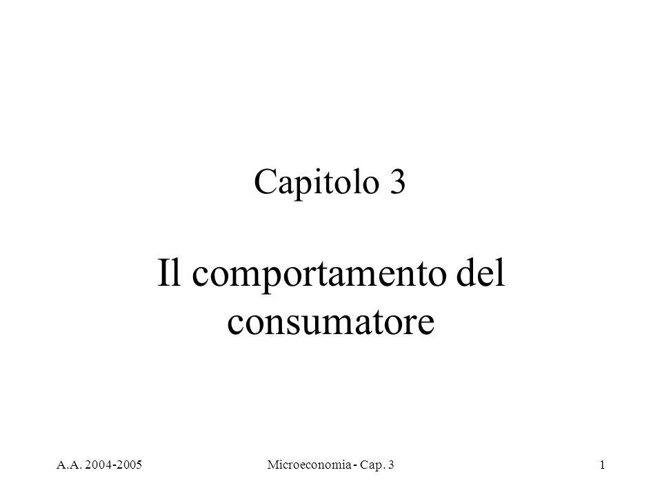 A.A. 2004-2005Microeconomia - Cap. 31 Capitolo 3 Il comportamento del consumatore