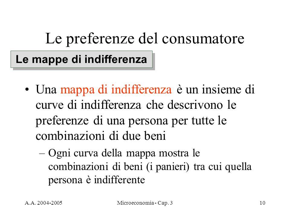 A.A. 2004-2005Microeconomia - Cap. 310 Le preferenze del consumatore Una mappa di indifferenza è un insieme di curve di indifferenza che descrivono le