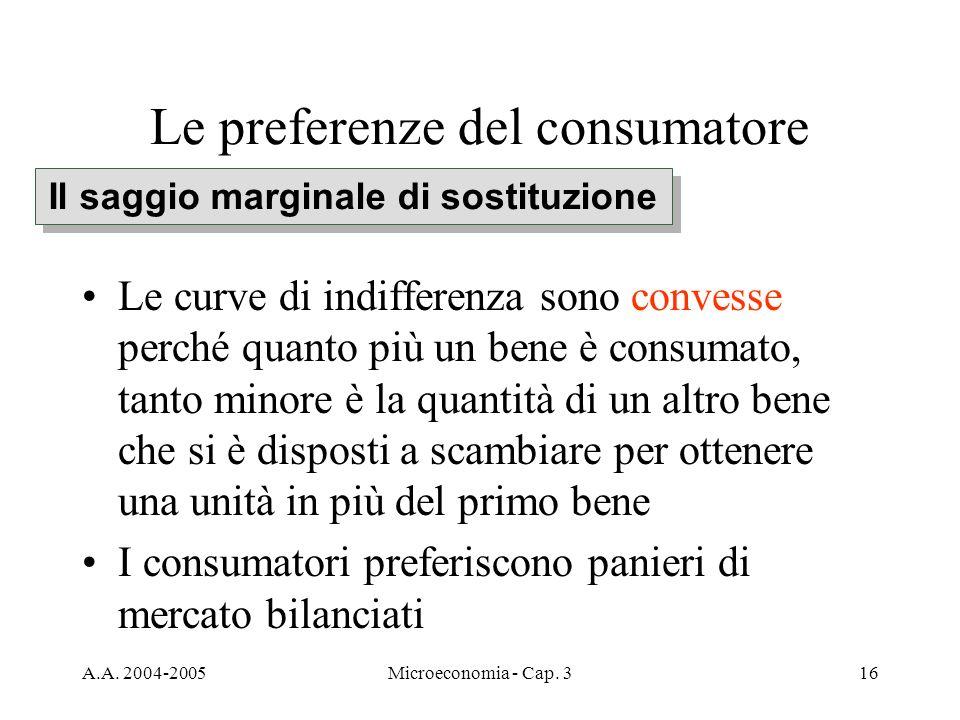 A.A. 2004-2005Microeconomia - Cap. 316 Le preferenze del consumatore Le curve di indifferenza sono convesse perché quanto più un bene è consumato, tan