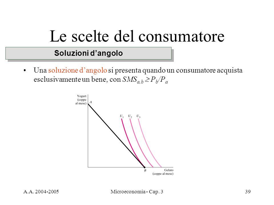 A.A. 2004-2005Microeconomia - Cap. 339 Le scelte del consumatore Una soluzione dangolo si presenta quando un consumatore acquista esclusivamente un be