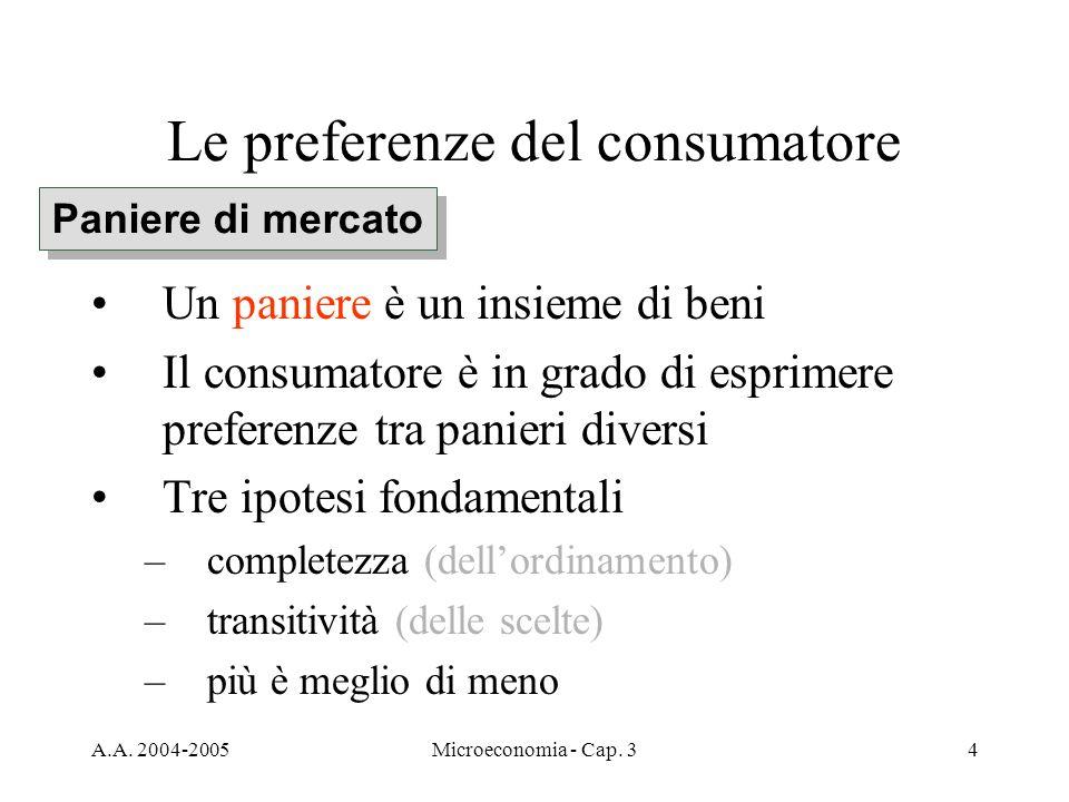 A.A. 2004-2005Microeconomia - Cap. 34 Le preferenze del consumatore Un paniere è un insieme di beni Il consumatore è in grado di esprimere preferenze