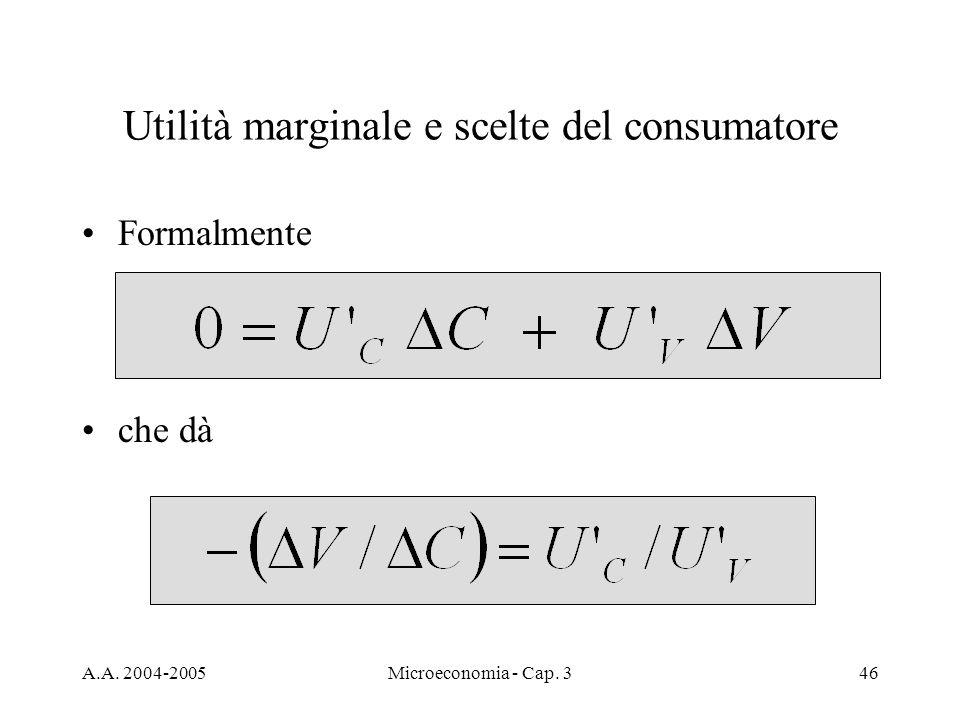 A.A. 2004-2005Microeconomia - Cap. 346 Utilità marginale e scelte del consumatore Formalmente che dà
