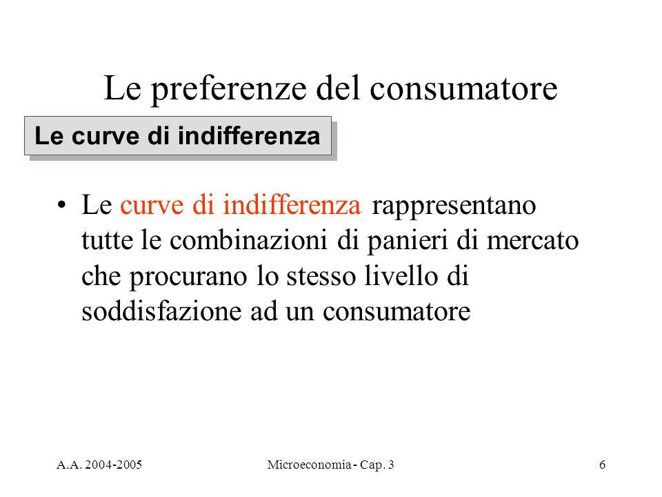 A.A. 2004-2005Microeconomia - Cap. 36 Le preferenze del consumatore Le curve di indifferenza rappresentano tutte le combinazioni di panieri di mercato