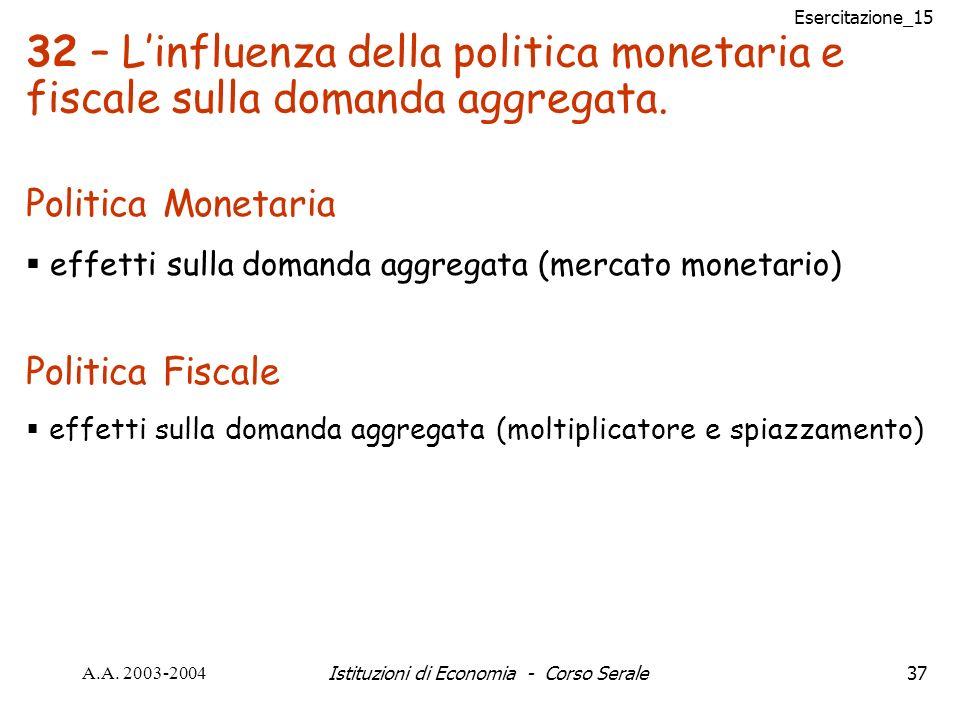 Esercitazione_15 A.A. 2003-2004Istituzioni di Economia - Corso Serale37 Politica Monetaria effetti sulla domanda aggregata (mercato monetario) Politic