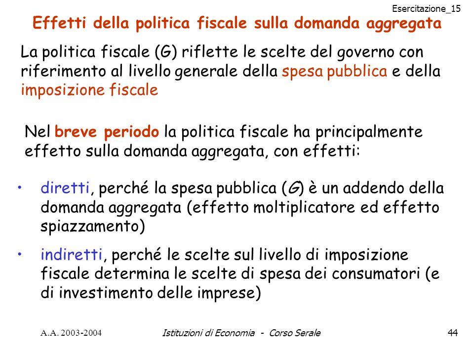 Esercitazione_15 A.A. 2003-2004Istituzioni di Economia - Corso Serale44 Effetti della politica fiscale sulla domanda aggregata La politica fiscale (G)