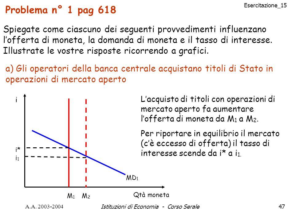 Esercitazione_15 A.A. 2003-2004Istituzioni di Economia - Corso Serale47 Problema n° 1 pag 618 Spiegate come ciascuno dei seguenti provvedimenti influe