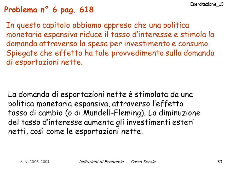 Esercitazione_15 A.A. 2003-2004Istituzioni di Economia - Corso Serale53 Problema n° 6 pag. 618 In questo capitolo abbiamo appreso che una politica mon