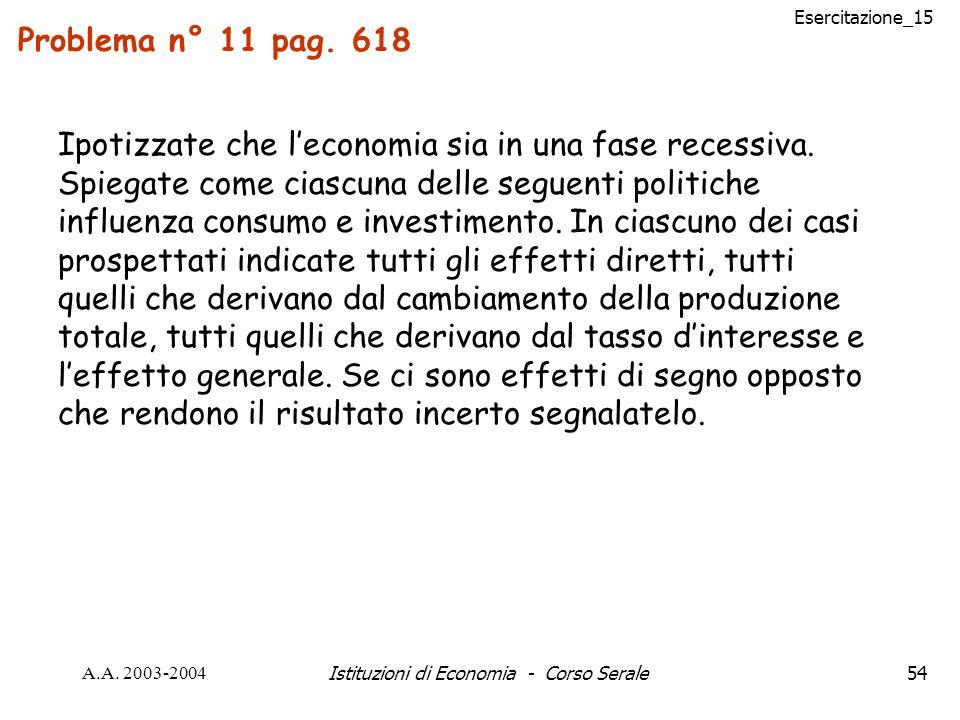 Esercitazione_15 A.A. 2003-2004Istituzioni di Economia - Corso Serale54 Problema n° 11 pag. 618 Ipotizzate che leconomia sia in una fase recessiva. Sp
