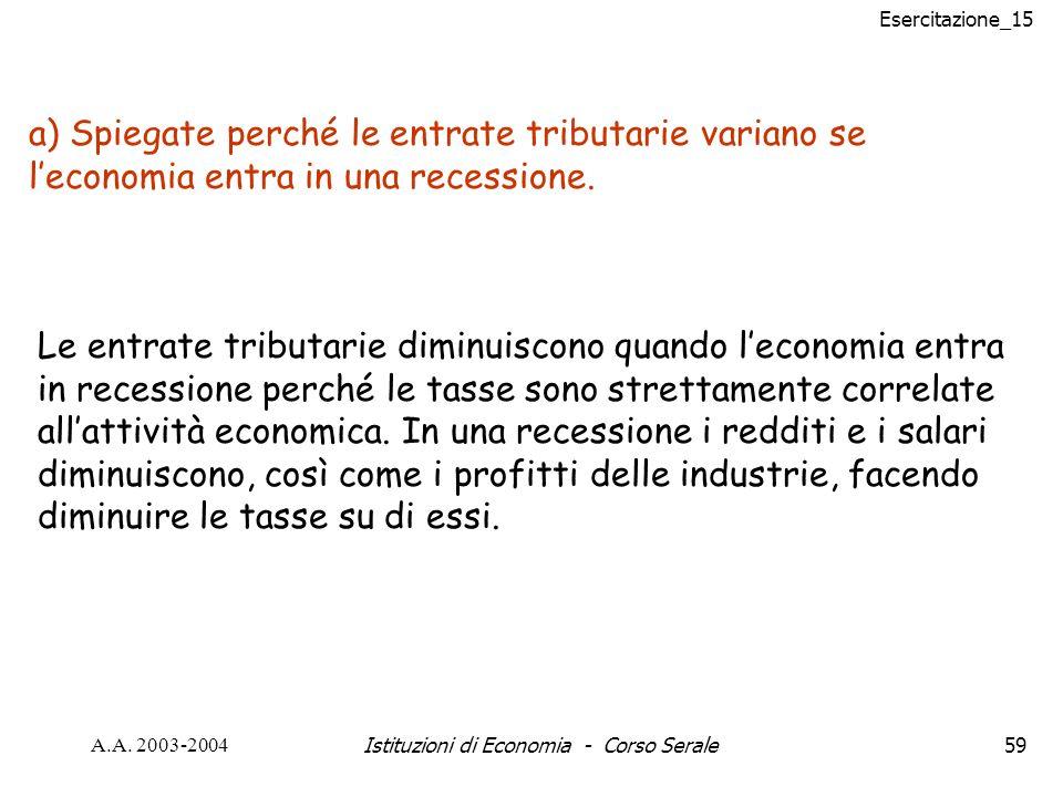 Esercitazione_15 A.A. 2003-2004Istituzioni di Economia - Corso Serale59 a) Spiegate perché le entrate tributarie variano se leconomia entra in una rec