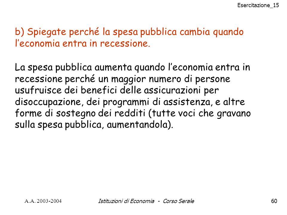 Esercitazione_15 A.A. 2003-2004Istituzioni di Economia - Corso Serale60 b) Spiegate perché la spesa pubblica cambia quando leconomia entra in recessio
