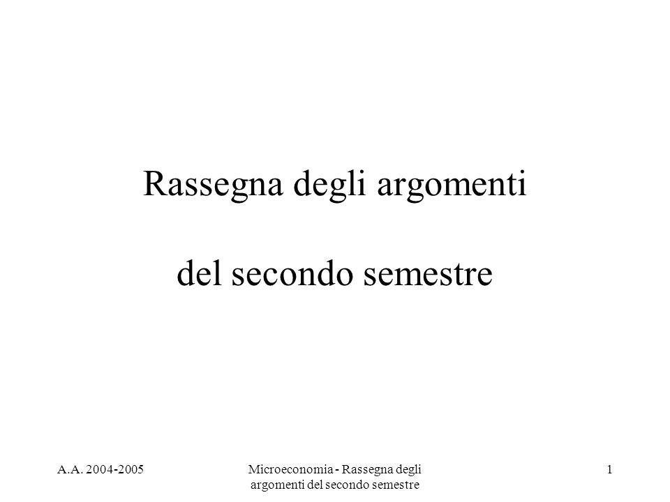 A.A. 2004-2005Microeconomia - Rassegna degli argomenti del secondo semestre 1 Rassegna degli argomenti del secondo semestre