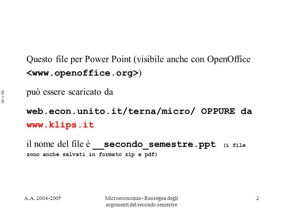 A.A. 2004-2005Microeconomia - Rassegna degli argomenti del secondo semestre 2 Questo file per Power Point (visibile anche con OpenOffice ) può essere