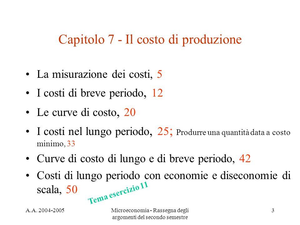 A.A. 2004-2005Microeconomia - Rassegna degli argomenti del secondo semestre 3 Capitolo 7 - Il costo di produzione La misurazione dei costi, 5 I costi