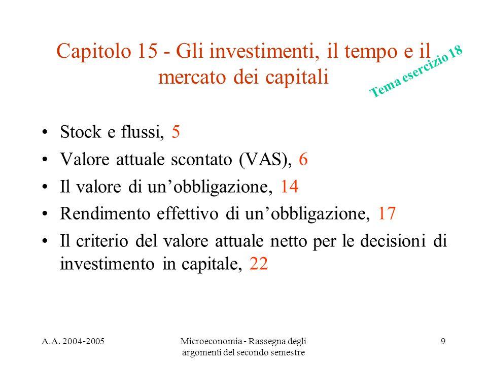 A.A. 2004-2005Microeconomia - Rassegna degli argomenti del secondo semestre 9 Capitolo 15 - Gli investimenti, il tempo e il mercato dei capitali Stock