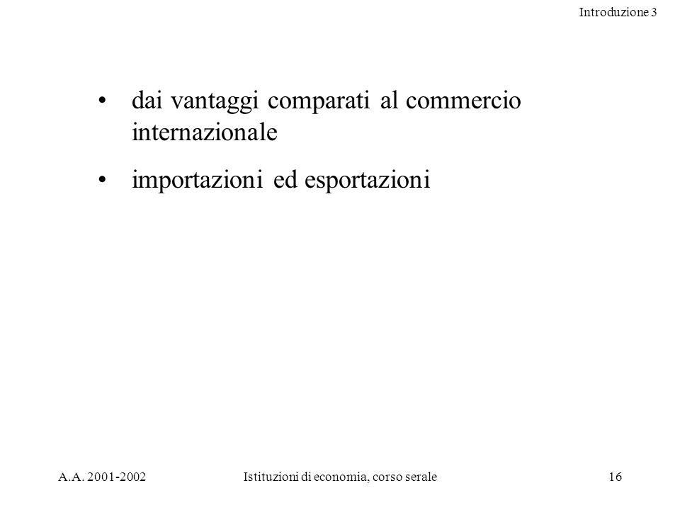 Introduzione 3 A.A. 2001-2002Istituzioni di economia, corso serale16 dai vantaggi comparati al commercio internazionale importazioni ed esportazioni