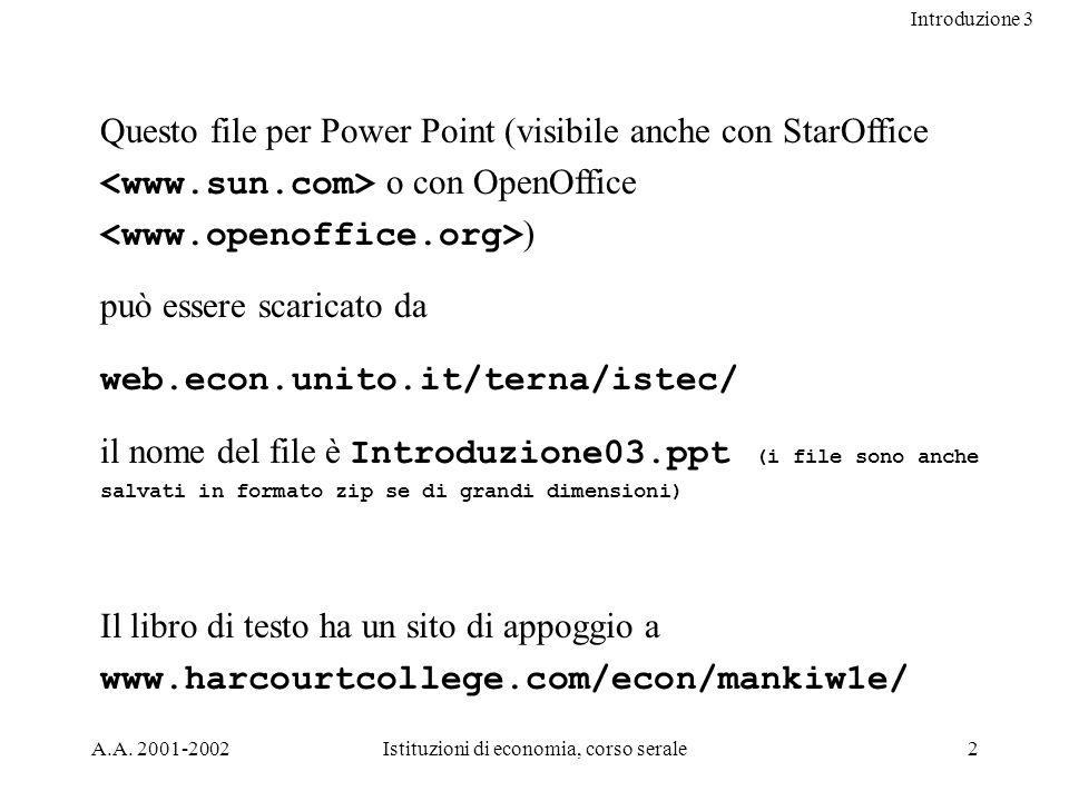 Introduzione 3 A.A. 2001-2002Istituzioni di economia, corso serale2 Questo file per Power Point (visibile anche con StarOffice o con OpenOffice ) può