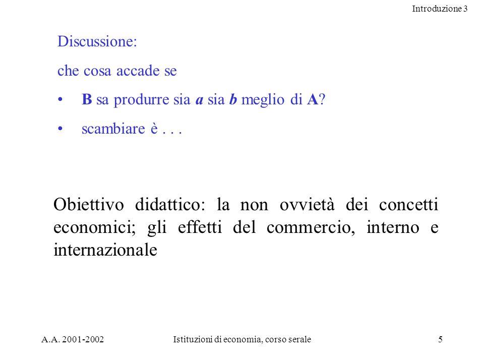 Introduzione 3 A.A. 2001-2002Istituzioni di economia, corso serale5 Discussione: che cosa accade se B sa produrre sia a sia b meglio di A? scambiare è