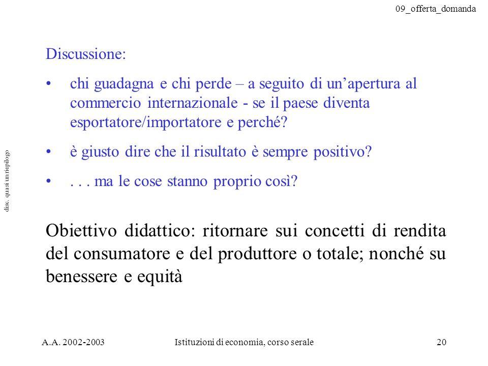 09_offerta_domanda A.A. 2002-2003Istituzioni di economia, corso serale20 Discussione: chi guadagna e chi perde – a seguito di unapertura al commercio