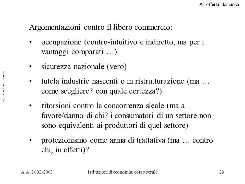 09_offerta_domanda A.A. 2002-2003Istituzioni di economia, corso serale29 Argomentazioni contro il libero commercio: occupazione (contro-intuitivo e in