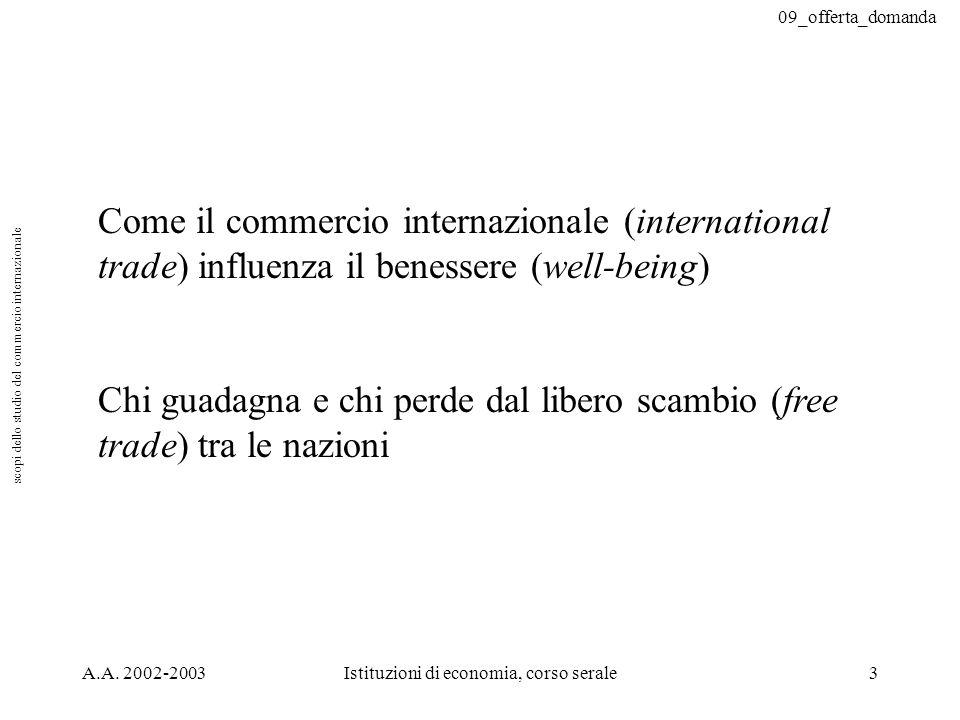 09_offerta_domanda A.A. 2002-2003Istituzioni di economia, corso serale3 Come il commercio internazionale (international trade) influenza il benessere