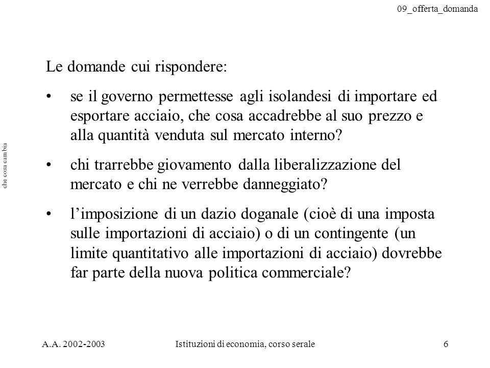 09_offerta_domanda A.A. 2002-2003Istituzioni di economia, corso serale6 Le domande cui rispondere: se il governo permettesse agli isolandesi di import