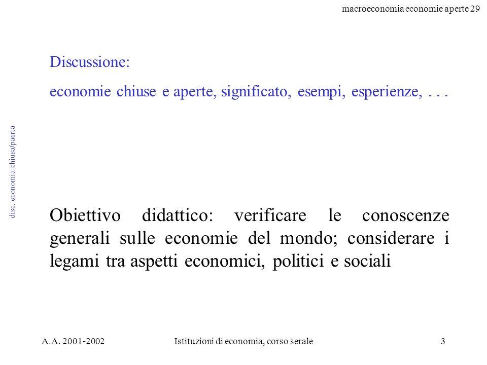 macroeconomia economie aperte 29 A.A. 2001-2002Istituzioni di economia, corso serale3 disc.