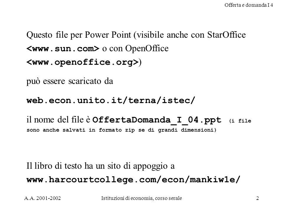 Offerta e domanda I 4 A.A. 2001-2002Istituzioni di economia, corso serale2 Questo file per Power Point (visibile anche con StarOffice o con OpenOffice