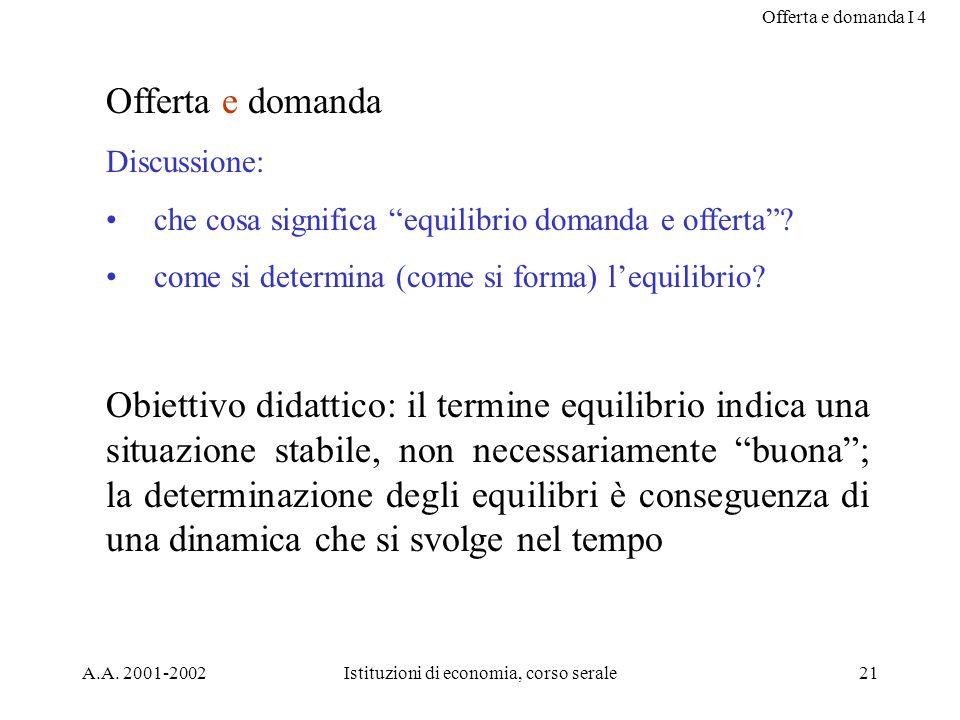 Offerta e domanda I 4 A.A. 2001-2002Istituzioni di economia, corso serale21 Offerta e domanda Discussione: che cosa significa equilibrio domanda e off
