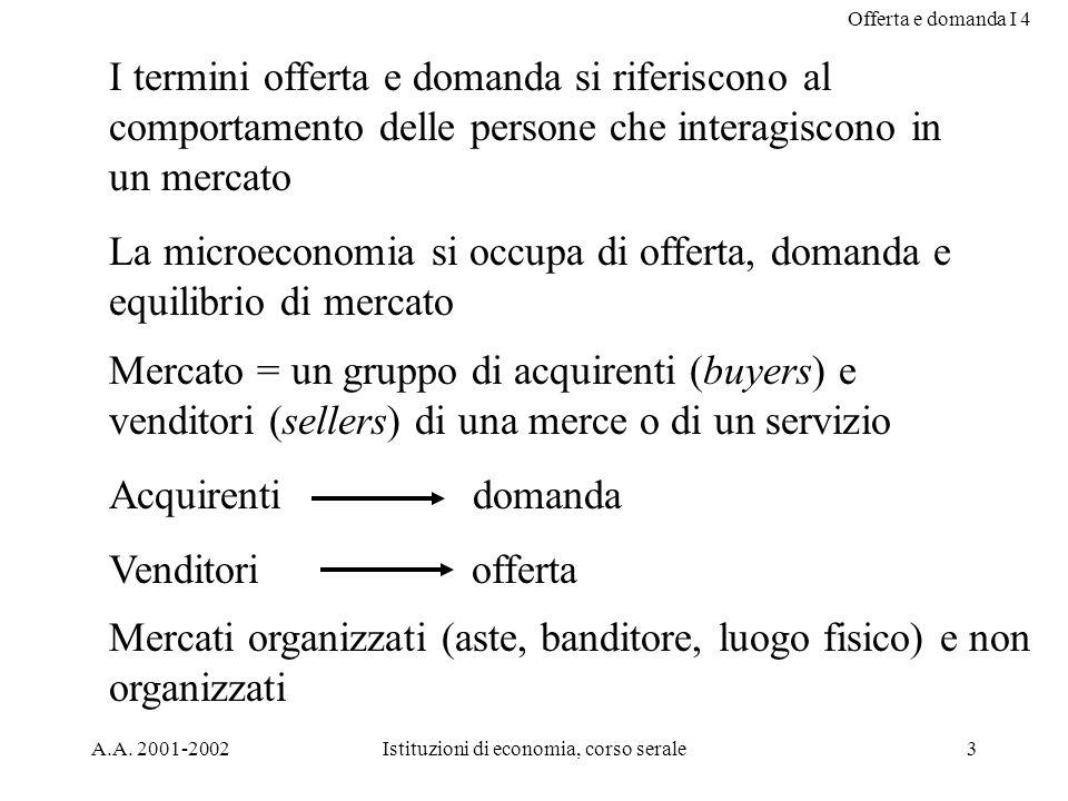 Offerta e domanda I 4 A.A. 2001-2002Istituzioni di economia, corso serale3 I termini offerta e domanda si riferiscono al comportamento delle persone c