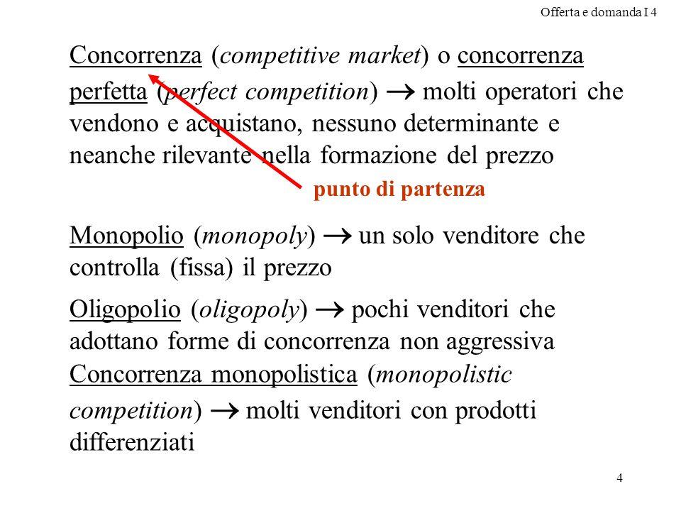 Offerta e domanda I 4 4 Concorrenza (competitive market) o concorrenza perfetta (perfect competition) molti operatori che vendono e acquistano, nessun