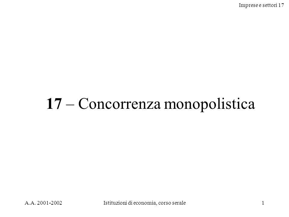 Imprese e settori 17 A.A. 2001-2002Istituzioni di economia, corso serale1 17 – Concorrenza monopolistica