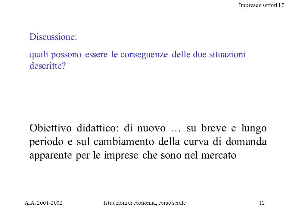 Imprese e settori 17 A.A. 2001-2002Istituzioni di economia, corso serale11 Discussione: quali possono essere le conseguenze delle due situazioni descr