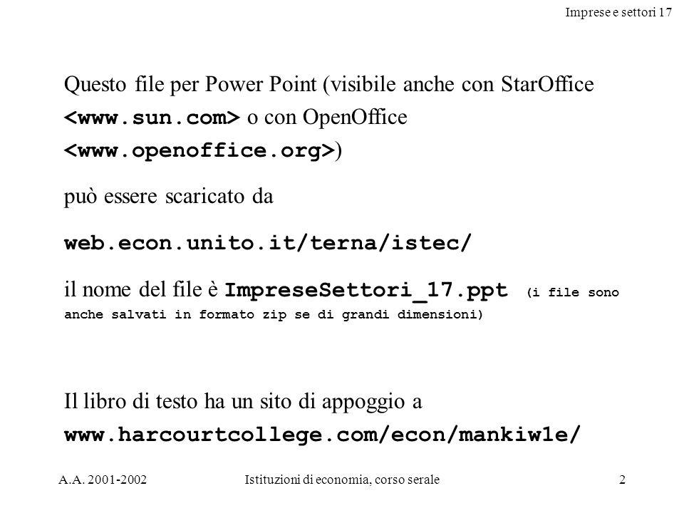 Imprese e settori 17 A.A. 2001-2002Istituzioni di economia, corso serale2 Questo file per Power Point (visibile anche con StarOffice o con OpenOffice